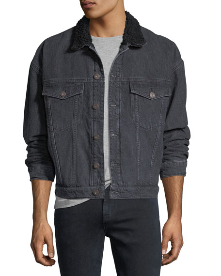 Hudson Shearling-Trim Denim Trucker Jacket