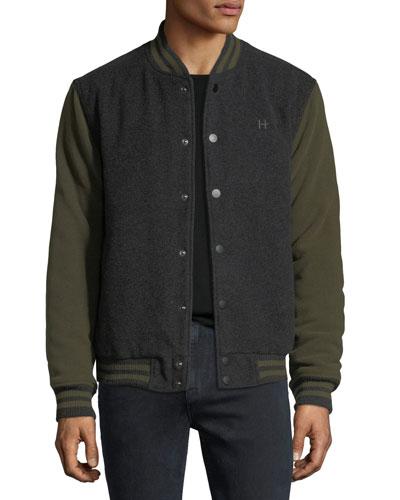 Casual Varsity Jacket, Green