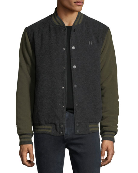 Hudson Men's Casual Varsity Jacket, Green
