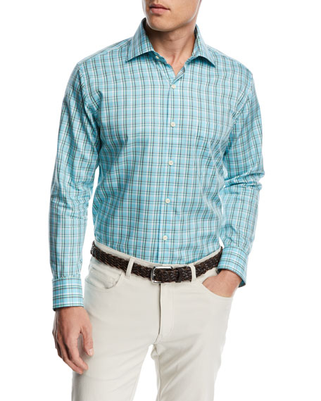 Crown Soft Hawksbill Plaid Shirt, Bright Blue