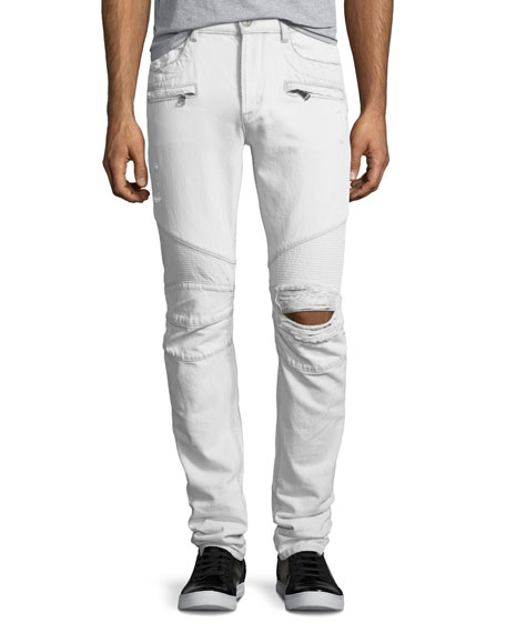 Hudson Blinder Biker Distressed Skinny Jeans, Extracted (White)