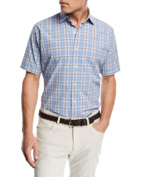 Peter Millar Rockport Plaid Short-Sleeve Shirt, Medium Blue