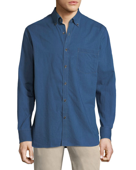 Peter Millar Crown Soft Denim Long-Sleeve Shirt