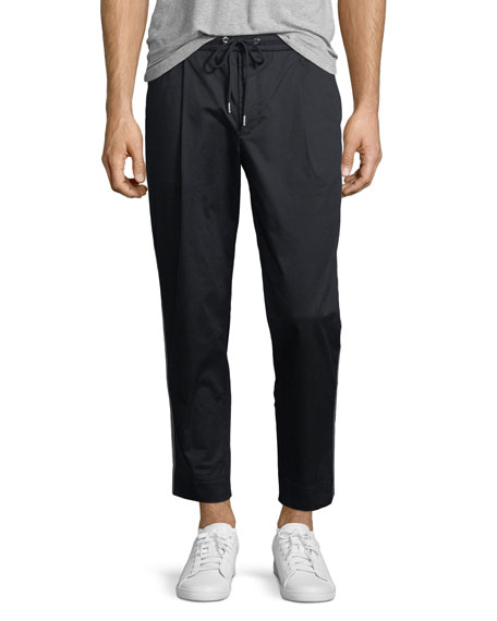 Moncler Single Pleat Pants w/ Tricot Taping, Navy