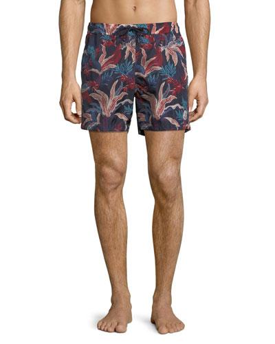 Floral-Print Swim Trunks