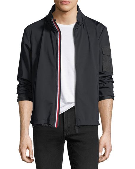 Moncler Soft-Shell Tricolor Zip Jacket, Black
