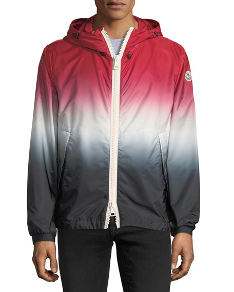 Hooded Red White Blue Degrade Nylon Jacket