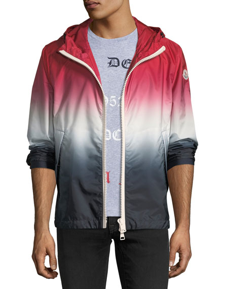 Moncler Hooded Red White Blue Degrade Nylon Jacket