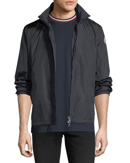 Moncler Nylon Two-Way Zip-Up Logo Jacket, Navy