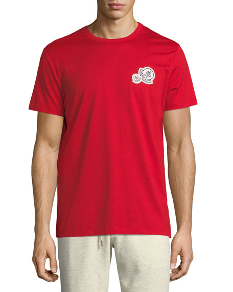 Moncler Short-Sleeve T-Shirt with Patches, Red
