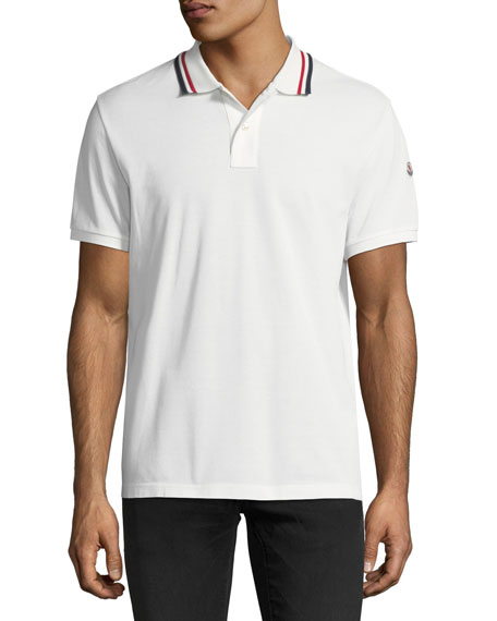 Moncler Pique Polo Shirt with Tricolor Collar, Ivory