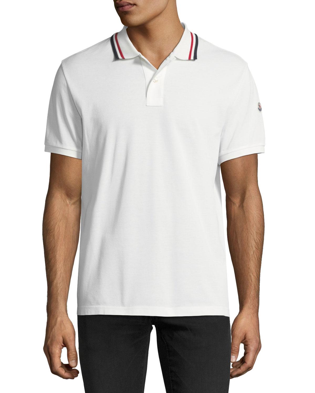 5cc4dff1aa50 Moncler Pique Polo Shirt with Tricolor Collar