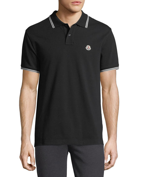 Moncler Classic Pique Patch Polo Shirt, Black