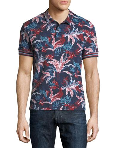 Navy Floral Pique Polo Shirt