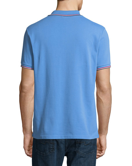 Classic Pique Patch Polo Shirt, Cornflower Blue