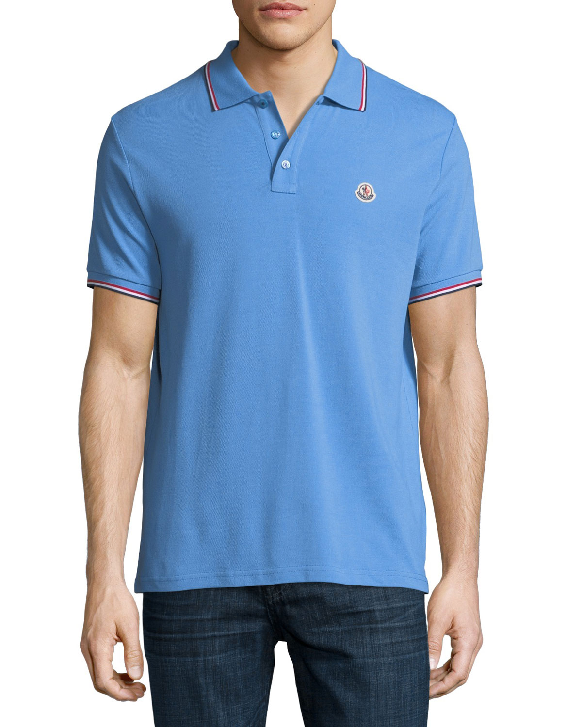 Moncler Marcus Patch Cornflower Blue Polo Pique Shirt Classic Neiman 8r6wqf8