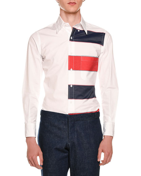 Thom Browne Long-Sleeve Funmix Striped Shirt