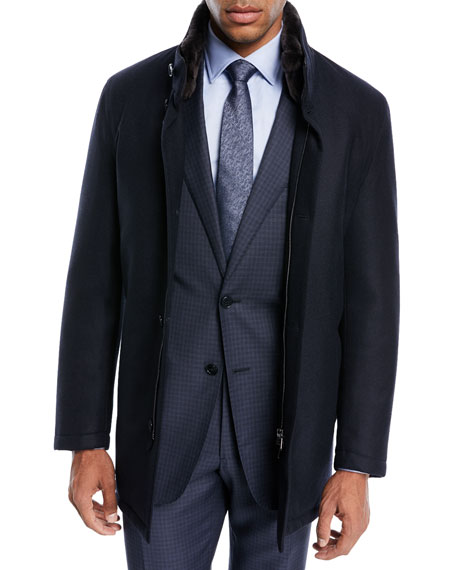 Mandelli Shearling-Lined Wool Car Coat, Blue