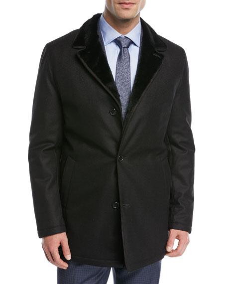 Shearling-Lined Wool Car Coat