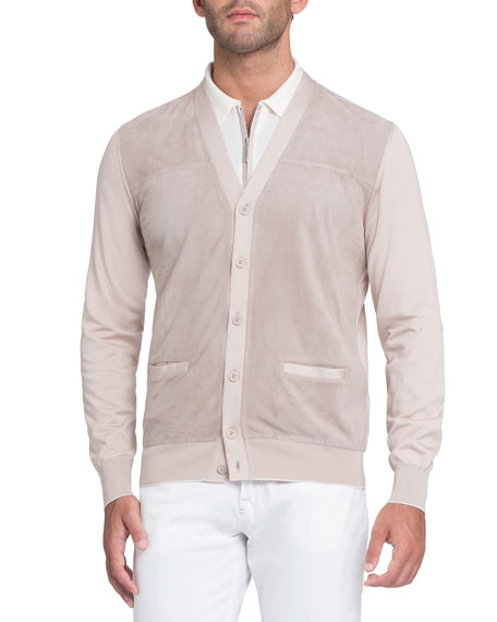 Stefano Ricci Perforated Suede-Panel Cardigan