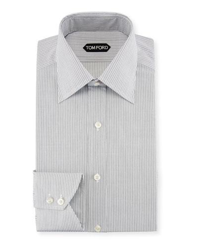 Fine-Stripe Cotton Dress Shirt, Black/White