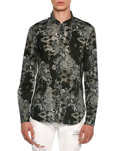 Snakeskin Print Stretch-Cotton Shirt