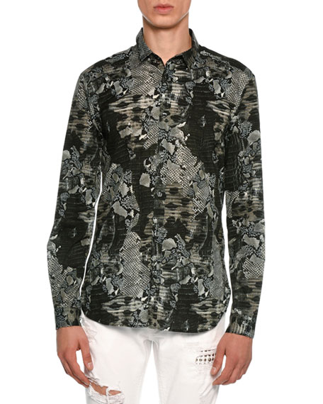 Snakeskin Print Stretch-Cotton Shirt