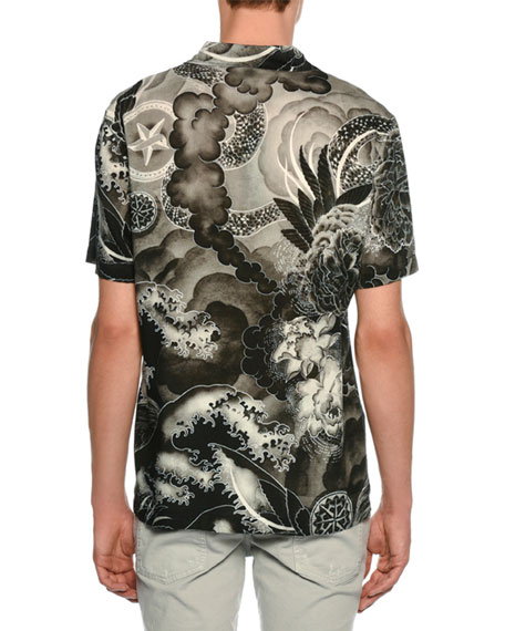 Tiger & Dragon Print Sport Shirt