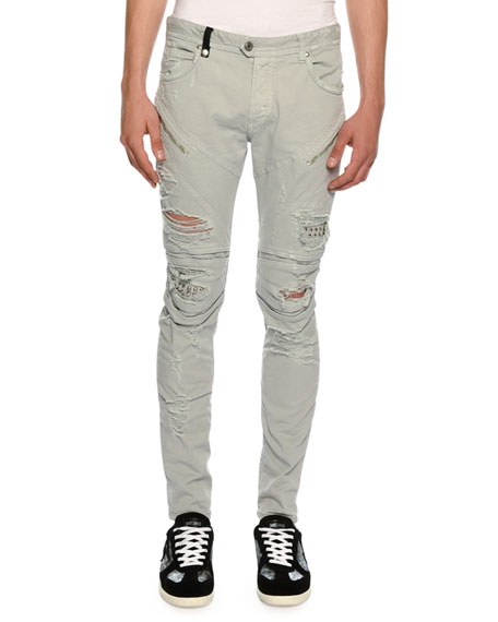 JUST CAVALLI Distressed Motorcycle Jeans in Gray