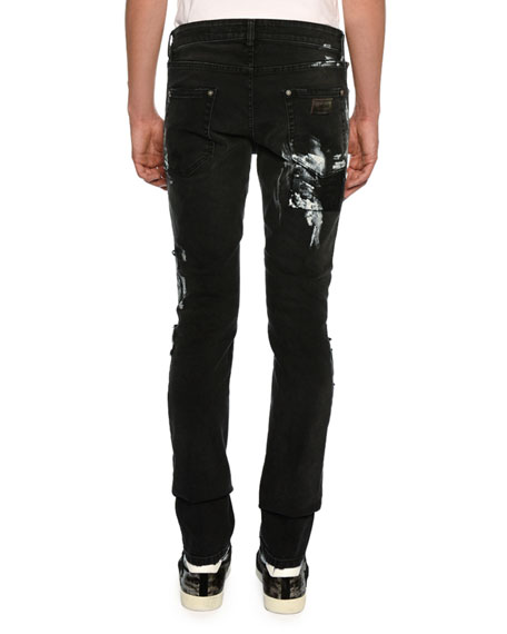 Slim Distressed-Denim Jeans with Paint-Splattered Detail