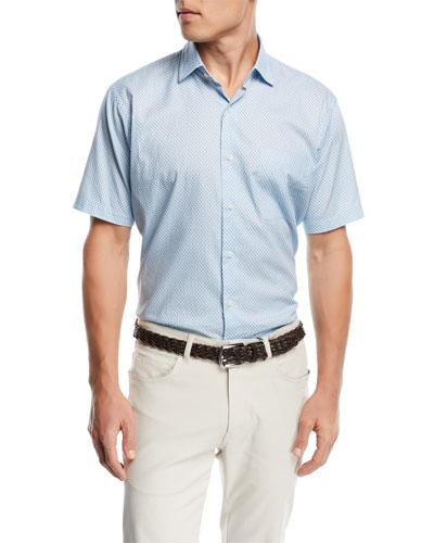 Sail Away Short Sleeve Woven Shirt, Medium Blue
