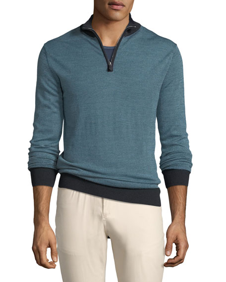 Peter Millar Tricolor Birdseye Quarter-Zip Sweater, Dark Blue