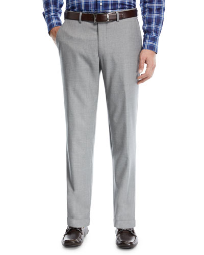 Multi-Season Wool Flat-Front Trousers