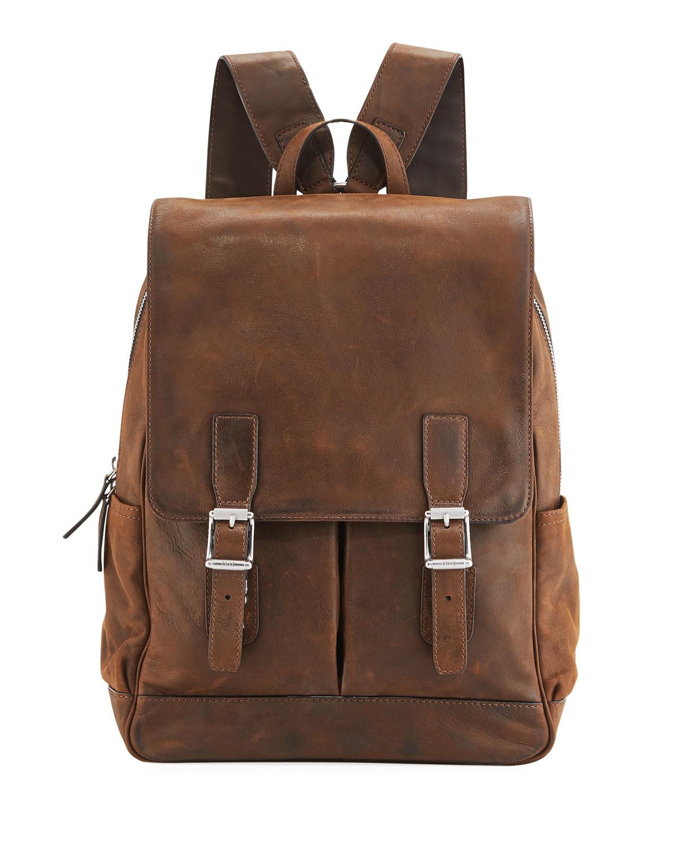 116d8836fff Front Flap Pocket Leather Backpack