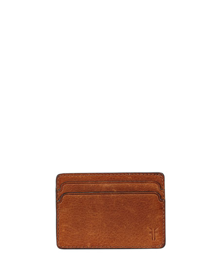 Frye Oliver Leather ID Card Case, Light Brown