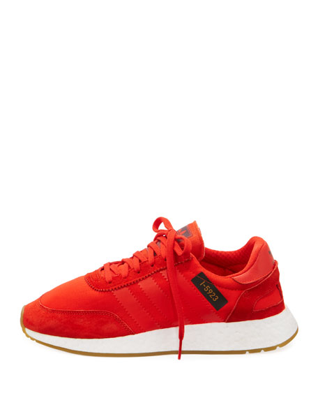 Suede-Trim Neoprene Sneaker, Red