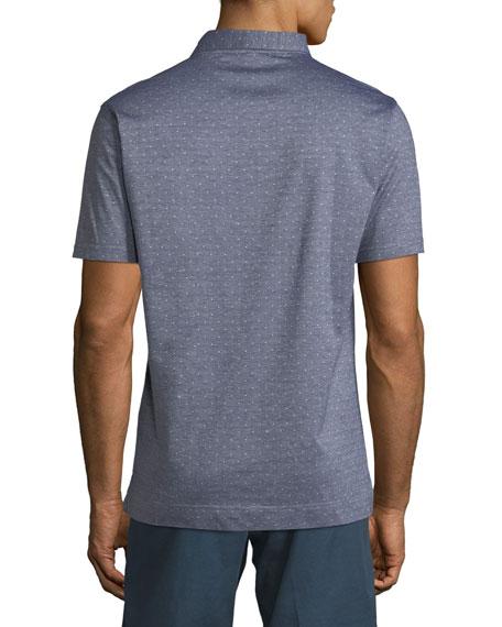 Flats Jacquard Short-Sleeve Polo Shirt, Dark Blue