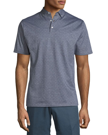 Flats Jacquard Short-Sleeve Polo Shirt, Dark Blue