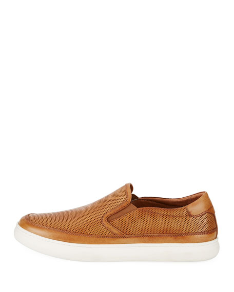 Corbyn Men's Perforated Leather Slip-On Sneakers