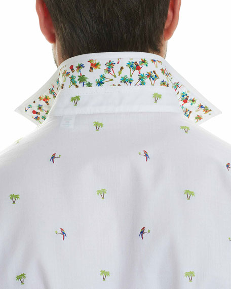 Palm Leaves Cotton Sport Shirt