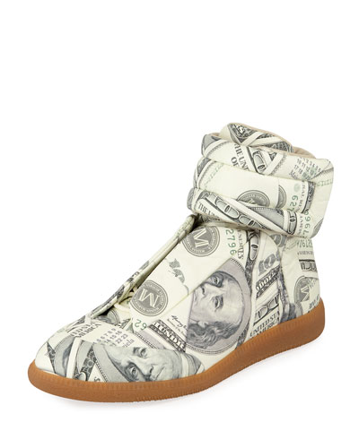 Future Money High-Top Grip Sneaker, Green Pattern