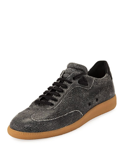 Men's Otto Low-Rise Cracked Leather Sneakers