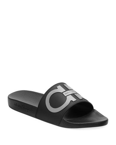 Salvatore Ferragamo Men's Groove Gancini Slide Sandal