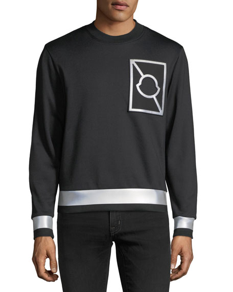 Moncler Maglia Girocollo Logo Sweatshirt with Reflective Taping