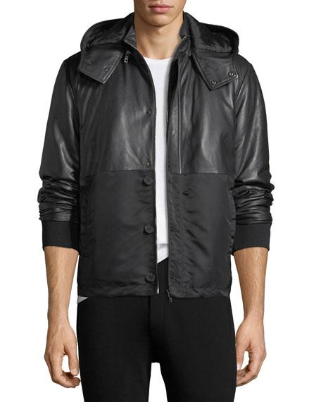 McQ Alexander McQueen Hybrid Leather Jacket w/ Hood