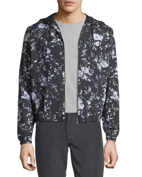 Floral-Print Hooded Zip-Front Jacket
