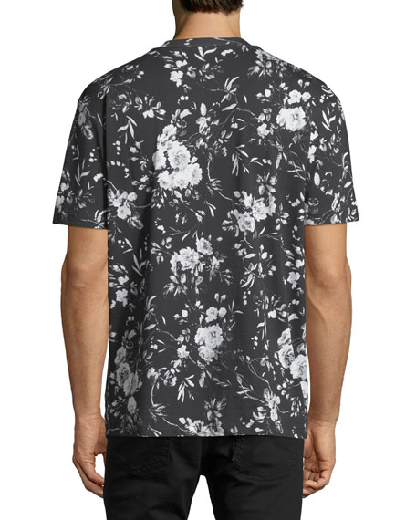 Dropped-Shoulder Floral-Print T-Shirt