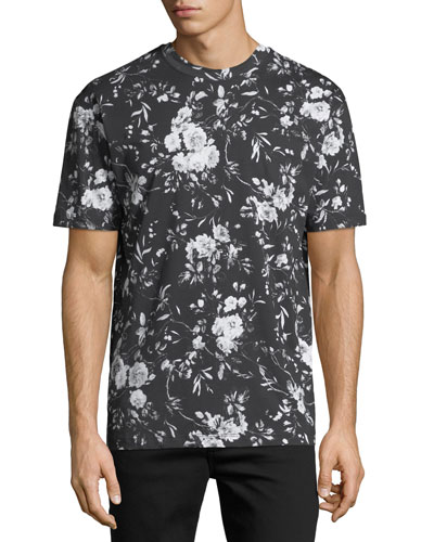 Dropped-Shoulder Floral-Print T-Shirt