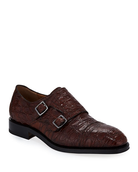 Salvatore Ferragamo Men's Tramezza Crocodile Double-Monk Shoe