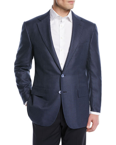 Wool/Silk Check Two-Button Sport Coat
